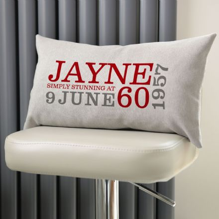Personalised 60th Birthday Rectangular Cushion